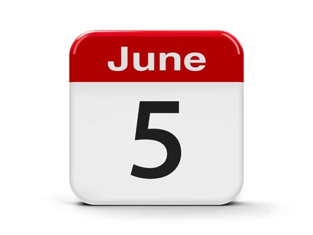 fifth: Calendar web button - The Fifth of June - World Environment Day, three-dimensional rendering, 3D illustration Stock Photo