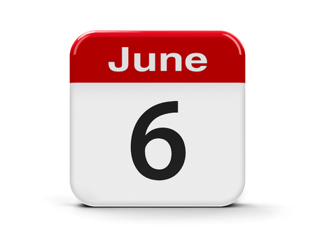 sixth: Calendar web button - The Sixth of June, three-dimensional rendering, 3D illustration