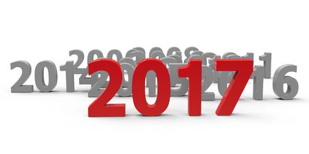 come on: 2017 come represents the new year 2017, three-dimensional rendering, 3D illustration