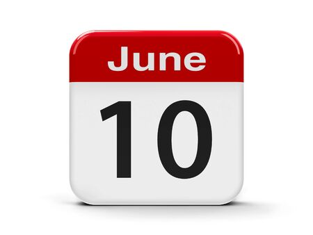tenth: Calendar web button - The Tenth of June, three-dimensional rendering, 3D illustration