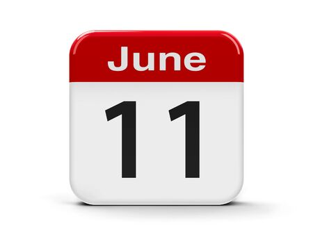 eleventh: Calendar web button - The Eleventh of June, three-dimensional rendering, 3D illustration