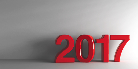 Red 2017 on grey background, represents the new year 2016, three-dimensional rendering, 3D illustration