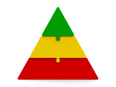piece: Three color puzzle pieces compose pyramid - represents three steps, isolated on a white background, three-dimensional rendering, 3D illustration