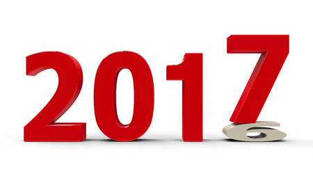 turns of the year: 2016-2017 change represents the new year 2017, three-dimensional rendering, 3D illustration