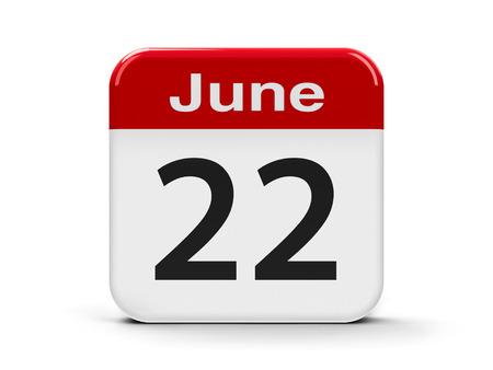 twenty second: Calendar web button - The Twenty Second of June, three-dimensional rendering, 3D illustration
