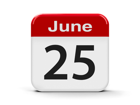 twenty fifth: Calendar web button - The Twenty Fifth of June - Day of the Seafarer, three-dimensional rendering, 3D illustration