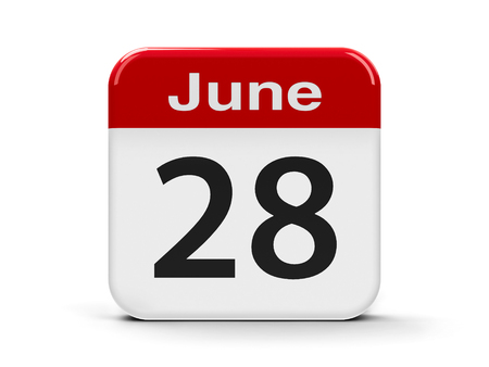 eighth: Calendar web button - The Twenty Eighth of June, three-dimensional rendering, 3D illustration