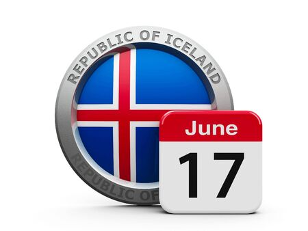 proclamation: Emblem of Iceland with calendar button - The Seventeenth of June - represents the Proclamation of the Republic Iceland, three-dimensional rendering, 3D illustration Stock Photo