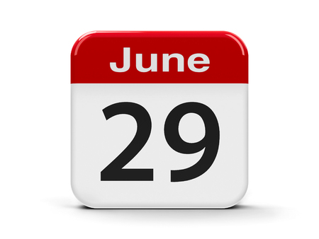 ninth: Calendar web button - The Twenty Ninth of June, three-dimensional rendering, 3D illustration Stock Photo