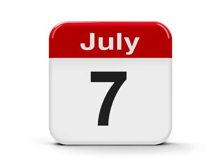 seventh: Calendar web button - The Seventh of July, three-dimensional rendering, 3D illustration