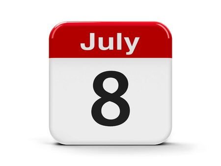 eighth: Calendar web button - The Eighth of July, three-dimensional rendering, 3D illustration