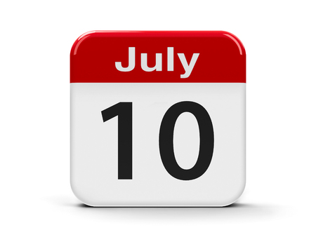 tenth: Calendar web button - The Tenth of July, three-dimensional rendering, 3D illustration