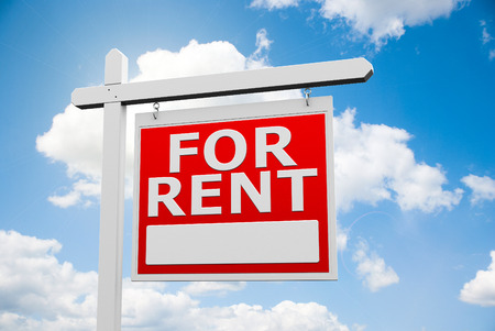 renter: Announcement signpost For Rent on the blue sky, three-dimensional rendering, 3D illustration Stock Photo
