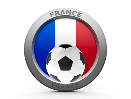 fotball: Emblem - Flag of France with fotball - isolated on white, represents Euro 2016 - France football championship, three-dimensional rendering, 3D illustration