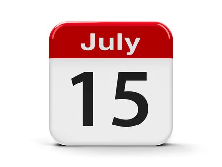 fifteenth: Calendar web button - The Fifteenth of July, three-dimensional rendering, 3D illustration