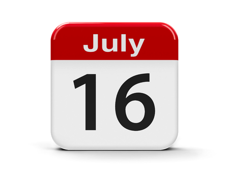 sixteenth: Calendar web button - The Sixteenth of July, three-dimensional rendering, 3D illustration Stock Photo