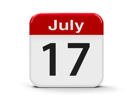 17th: Calendar web button - The Seventeenth of July, three-dimensional rendering, 3D illustration