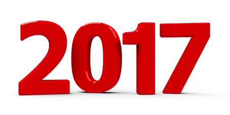 Red 2017 symbol, icons or button isolated on white background, represents the new year 2017, three-dimensional rendering, 3D illustration Banco de Imagens