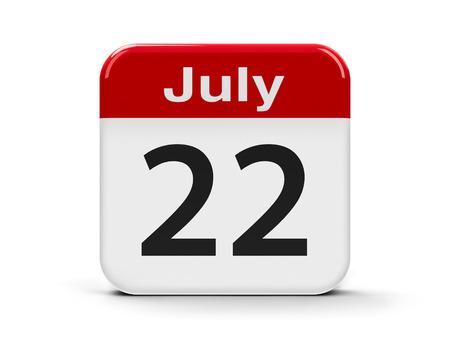 twenty second: Calendar web button - The Twenty Second of July, three-dimensional rendering, 3D illustration