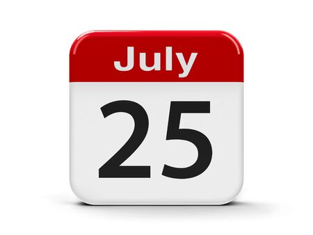 fifth: Calendar web button - The Twenty Fifth of July, three-dimensional rendering, 3D illustration Stock Photo