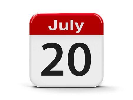 twentieth: Calendar web button - The Twentieth of July - International Chess Day and International Cake Day, three-dimensional rendering, 3D illustration
