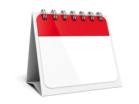 failed plan: Blank paper calendar icon with spiral, three-dimensional rendering, 3D illustration