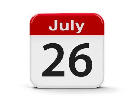 26th: Calendar web button - The Twenty Sixth of July - Esperanto language day, three-dimensional rendering, 3D illustration Stock Photo