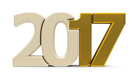 Gold 2017 symbol, icons or button isolated on white background, represents the new year 2017, three-dimensional rendering, 3D illustration