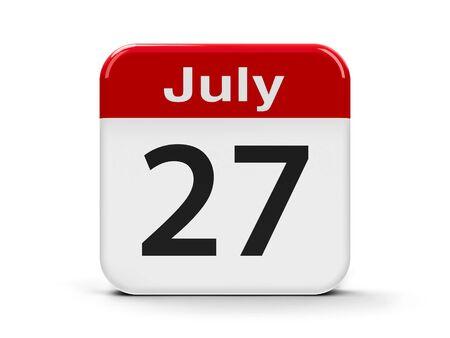 seventh: Calendar web button - The Twenty Seventh of July, three-dimensional rendering, 3D illustration Stock Photo