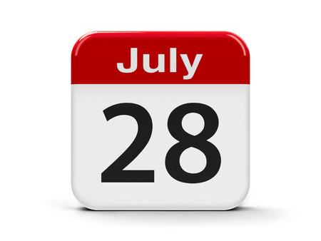 eighth: Calendar web button - The Twenty Eighth of July - World Hepatitis Day, three-dimensional rendering, 3D illustration