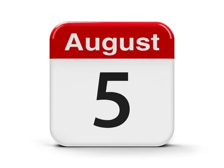 fifth: Calendar web button - The Fifth of August, three-dimensional rendering, 3D illustration