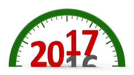 turns of the year: Clock dial with 2016-2017 change represents the new 2017, three-dimensional rendering, 3D illustration
