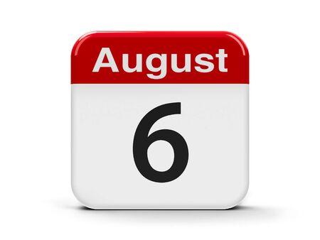 nagasaki: Calendar web button - The Sixth of August, three-dimensional rendering, 3D illustration Stock Photo