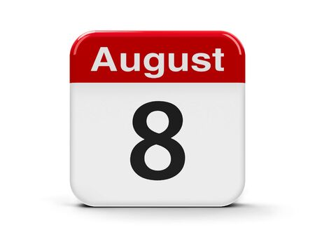 eighth: Calendar web button - The Eighth of August, three-dimensional rendering, 3D illustration