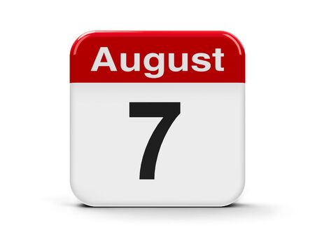 seventh: Calendar web button - The Seventh of August, three-dimensional rendering, 3D illustration