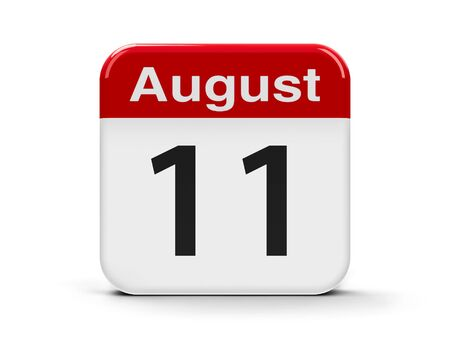 eleventh: Calendar web button - The Eleventh of August, three-dimensional rendering, 3D illustration
