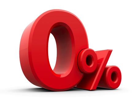 Red Null-Prozent-Zeichen auf weißem Hintergrund, dreidimensionale Wiedergabe, 3D-Darstellung Standard-Bild - 59564943