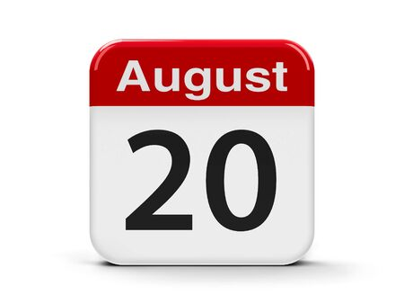 twentieth: Calendar web button - The Twentieth of August, three-dimensional rendering, 3D illustration