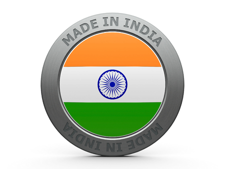 metal button: Emblem - made in India, three-dimensional rendering, 3D illustration Stock Photo