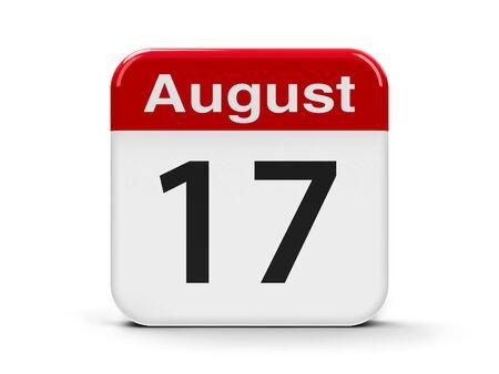 seventeenth: Calendar web button - The Seventeenth of August, three-dimensional rendering, 3D illustration Stock Photo