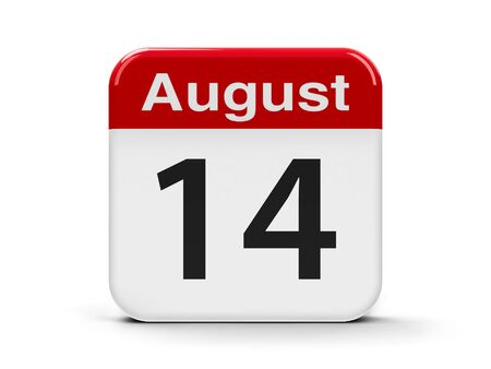 fourteenth: Calendar web button - The Fourteenth of August, three-dimensional rendering, 3D illustration Stock Photo