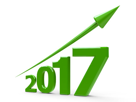 Green arrow up represents the growth in 2017 year, three-dimensional rendering, 3D illustration