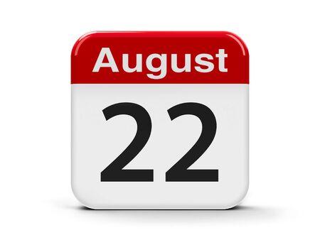 twenty second: Calendar web button - The Twenty Second of August, three-dimensional rendering, 3D illustration Stock Photo