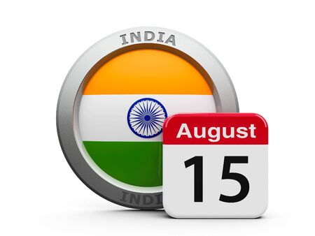 Emblem of India with calendar button - The Fifteenth of August - represents the Independence Day in India, three-dimensional rendering, 3D illustration