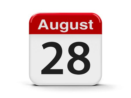 eighth: Calendar web button - The Twenty Eighth of August, three-dimensional rendering, 3D illustration
