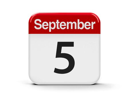 fifth: Calendar web button - The Fifth of September, three-dimensional rendering, 3D illustration