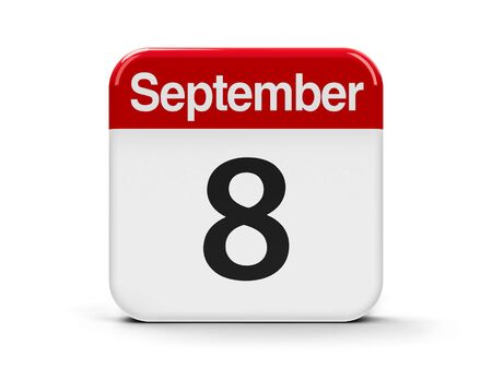 eighth: Calendar web button - The Eighth of September - International Literacy Day and International Day of Journalists Solidarity, three-dimensional rendering, 3D illustration Stock Photo