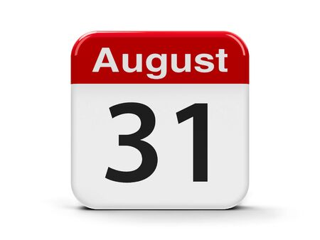 thirty: Calendar web button - The Thirty First of August - Independence Day of Kyrgyzstan, three-dimensional rendering, 3D illustration Stock Photo