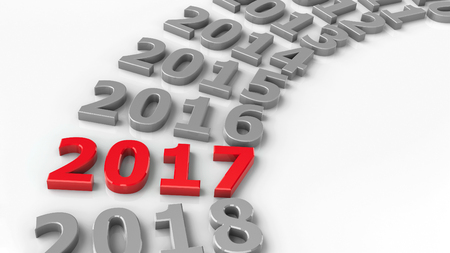 2017 past in the circle represents the new year 2017, three-dimensional rendering, 3D illustration Stock Photo