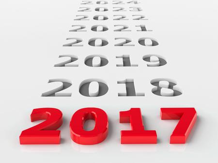 calendario diciembre: 2.017 futuro representa el nuevo año 2017, la representación en tres dimensiones, la ilustración 3D Foto de archivo